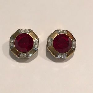 Faux Ruby and Rhinestone CLIP ON Earrings